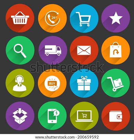 E-commerce shopping icons flat set of customer service shipping buying isolated vector illustration