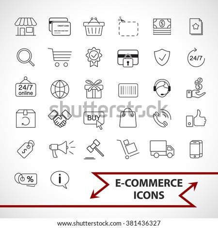 E-commerce, shopping icons set