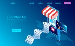 E-commerce shopping online with mobile. Vector 3d isometric template