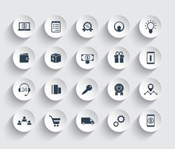 E-commerce, shopping, retail icons set