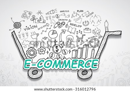 E-commerce text, With creative drawing charts and graphs business success strategy plan idea, Inspiration concept modern design template workflow layout, diagram, step up options, Vector illustration