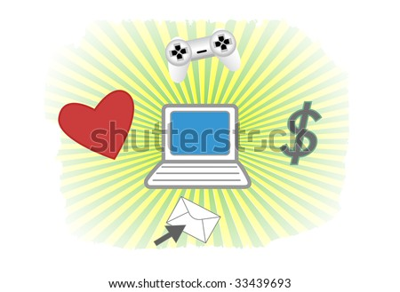 E-Commerce Vector Background - Online love, money, gaming and communication via a computer