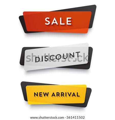 E-commerce vector banner set. Nice plastic cards in material design style. Transparent black, white, red and yellow paper.