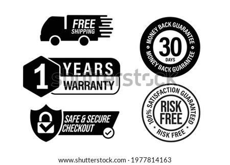e commerce vector icon set including, free shipping, 1 year warranty, safe and secure checkout, risk free-100% satisfaction guarantee, 30 days money back guarantee ストックフォト ©