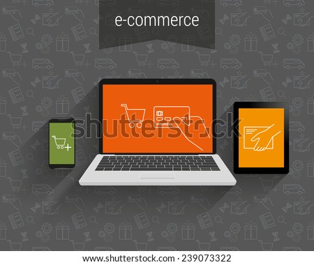 E-commerce vector illustration. Laptop, tablet pc and smartphone with vector ecommerce  symbols. Business background for ecommerce online shopping on laptop and payment to sell goods and pay for bill