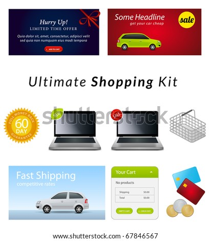 e-commerce vector kit: banners, icons, stickers and interface elements