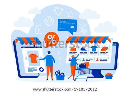 E-commerce web design concept with people characters. Customers shopping online scene. E-commerce distribution composition in flat style. Vector illustration for social media promotional materials.