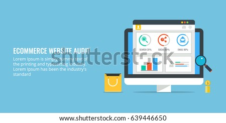 E-commerce website audit, data analysis for eCommerce website, performance audit flat design vector isolated on blue background