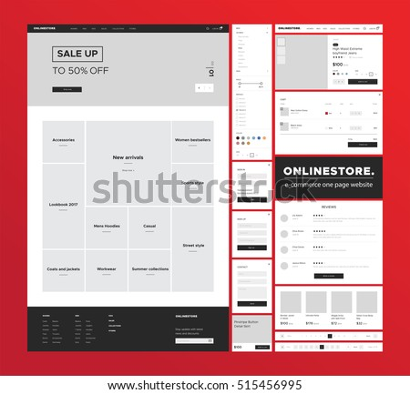 E-commerce website design template. Flat and simple design ux/ui kit for for onlineshop