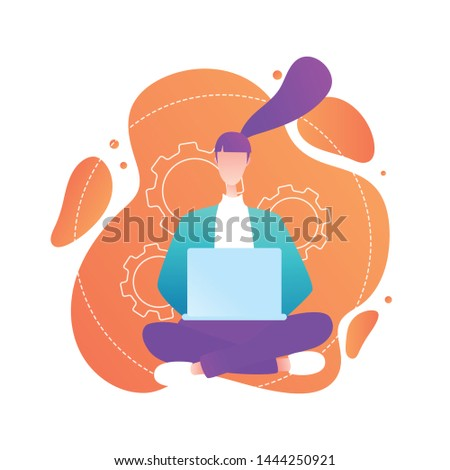 E-commerce website users, eshopping helpline, customer support service manager, buyers purchasing electronics online. Woman sitting with laptop. Isolated vector Illustration