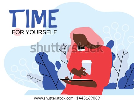 E-commerce website users, eshopping helpline, customer support service manager. Time for yourself. Isolated vector Illustration