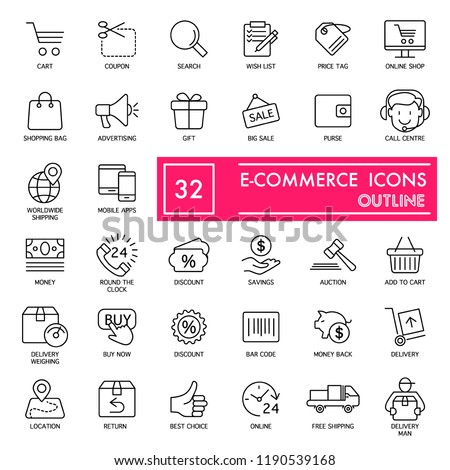E-commerce with inscription line icon set, store symbols collection, vector sketches, logo illustrations, shop signs linear pictograms package isolated on white background, eps 10 #1190539168