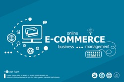 E-commerce word cloud and marketing concept. Infographic business. Project for web banner and creative process.