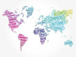 E-COMMERCE word cloud in shape of world map, business concept background