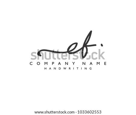 E F Initial handwriting logo Photo stock ©