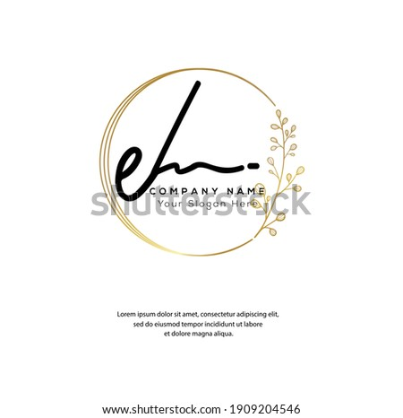 E H EH E L EL Initial letter handwriting and signature logo. Beauty vector initial logo .Fashion, boutique, floral and botanical Stock fotó ©