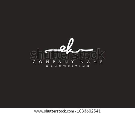E K Initial handwriting logo Stok fotoğraf ©