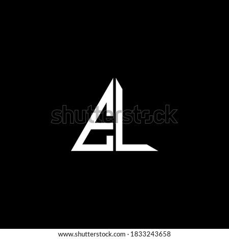 E L letter logo abstract design on black color background, el monogram Stock fotó ©