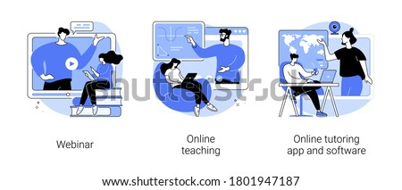 E-learning abstract concept vector illustration set. Webinar, online teaching, online tutoring app and software, video call and chat, video course, schedule software, learning plan abstract metaphor.