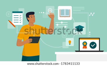 E-learning and online education: student connecting with his digital tablet and attending courses online, he is interacting with a virtual user interface