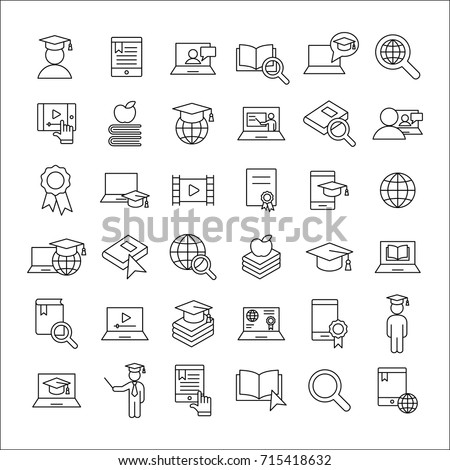 e-learning and online study thin line icons black set on white background