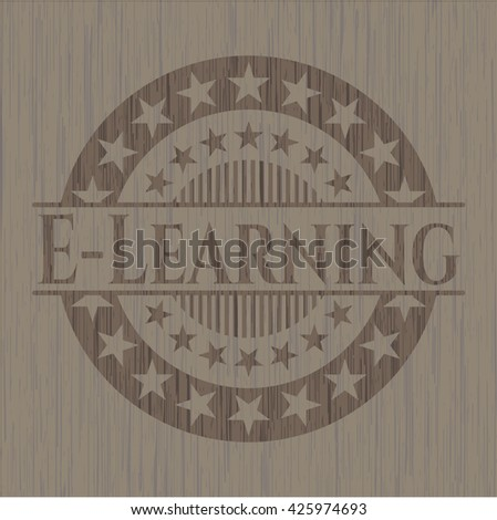 E-Learning badge with wooden background