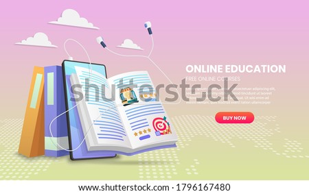 E-learning banner. Online education.education landing page template for Web courses or tutorials concept 3d vector illustration