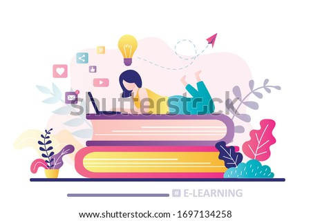 E-learning banner. Online education, home schooling. Girl student working on laptop. Web courses or tutorials. Education, brainstorming concept. Woman lies on stack of books. Flat vector illustration