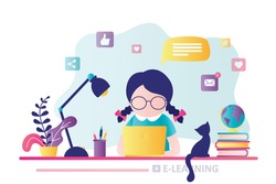 E-learning banner. Online education, home schooling. Modern workplace, girl preschooler student working on laptop. Web courses or tutorials concept. Education and chatting concept. Vector illustration