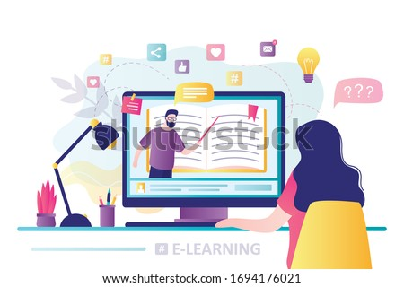 E-learning banner. Online education, home schooling. Modern workplace, man teacher on laptop screen, woman watching online course. Web courses or tutorials concept. Education vlog. Vector illustration