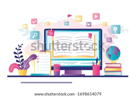E-learning banner. Online education, home schooling. Modern workplace, open book on laptop screen. Web courses or tutorials concept. Education vlog, internet library. Trendy flat vector illustration