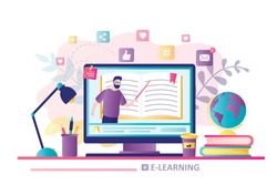 E-learning concept banner. Online education. Modern workplace, man teacher on laptop screen. Web courses or tutorials, software for learning. Education vlog. Trendy flat vector illustration