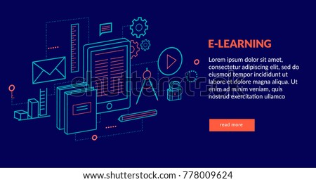 E-learning Concept for web page, banner, presentation. Vector illustration