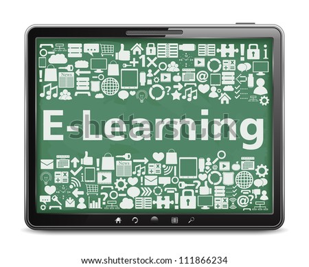 E-Learning concept, tablet computer with different education icons, vector eps10 illustration