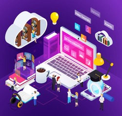 E-learning distance education bright glow isometric composition with studying home people degree virtual environment vector illustration
