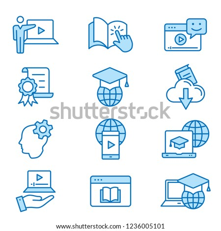 E-learning distance education flat line icons. Set of education, webinar, distance, student, training and more. Editable Stroke. Change to any size and any colour - part 2.