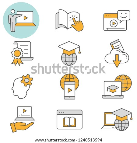 E-learning distance education flat line icons. Set of education, webinar, distance, student, training and more. Editable Stroke. Change to any size and any colour - part 3.