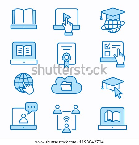 E-learning distance education flat line icons. Set of graduation cap, training, laptop, learn online, webinar symbols. Editable Strokes. #1193042704