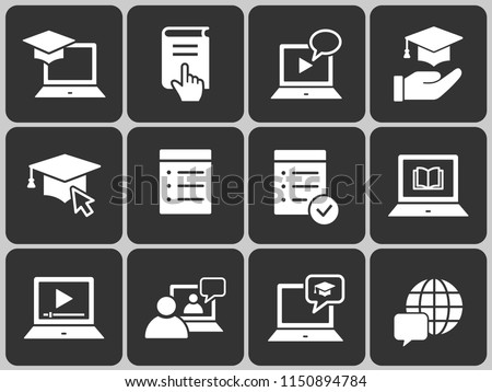 E-learning distance education icons. Set of graduation cap, training, laptop, learn online, webinar symbols. #1150894784