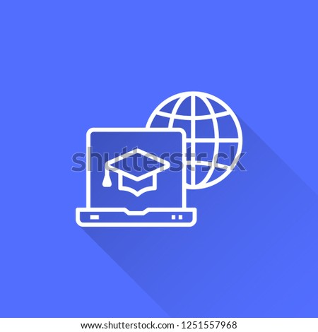 E-learning distance education vector icon with long shadow. Illustration isolated on blue background for graphic and web design.