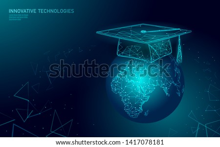E-learning distance graduate certificate program concept. Low poly 3D render graduation cap on planet Earth World map banner template. Internet education course degree vector illustration