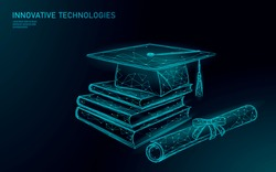 E-learning distant graduate certificate program concept. Low poly 3D render graduation cap, books, diploma polygonal modern design banner template. Internet education course degree vector illustration