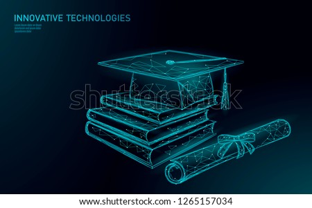 E-learning distant graduate certificate program concept. Low poly 3D render graduation cap, books, diploma polygonal modern design banner template. Internet education course degree vector illustration