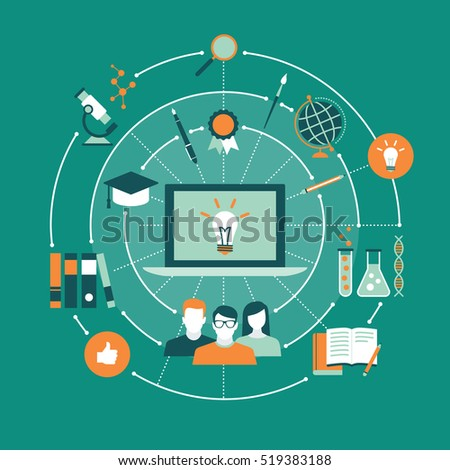 E-learning, education and training concepts network with laptop
