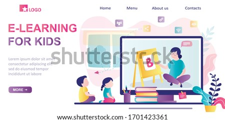 E-learning for kids, landing page template. Online early childhood education courses. Free online preschool games, home schooling.Woman teacher on screen, preschoolers at distance learning. Vector