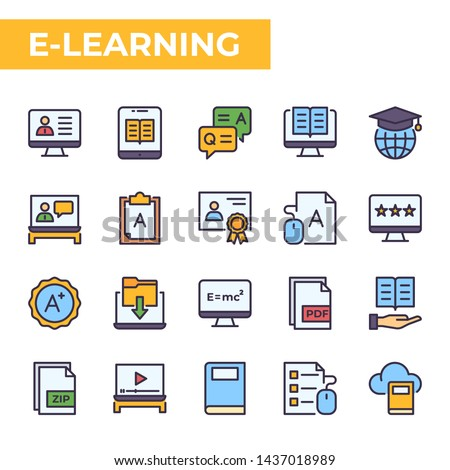 E-Learning Icon Set, filled color style