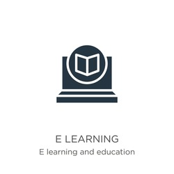 E learning icon vector. Trendy flat e learning icon from e learning and education collection isolated on white background. Vector illustration can be used for web and mobile graphic design, logo,