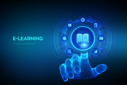 E-learning. Innovative online education and internet technology concept. Webinar, teaching, online training courses. Skill development. Wireframe hand touching digital interface. Vector illustration.