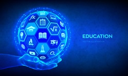 E-learning. Innovative online education technology concept. Webinar, teaching, online training courses. Skill development. Abstract 3D sphere with surface of hexagons with icons in hand. Vector.