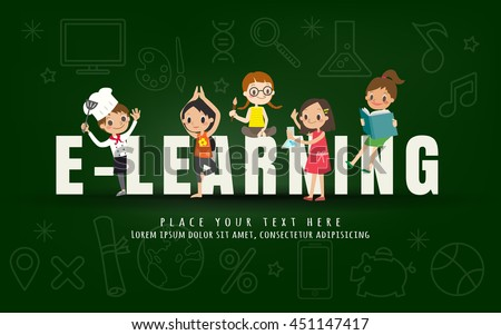 e-learning kids education course concept on chalkboard background vector illustration